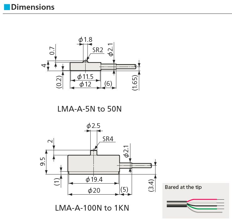 LMA-A – Small-sized Compression Load Cell (5 N – 1 kN)  ZSE Electronic GmbH